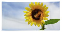 Beach Towel featuring the photograph Butterfly On A Sunflower by Shane Bechler