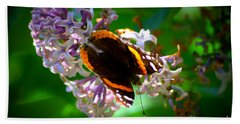 Butterfly On Lilac Beach Towel