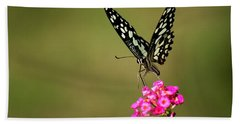 Beach Towel featuring the digital art Butterfly On Pink Flower  by Ramabhadran Thirupattur