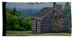Beach Towel featuring the painting Cabin On The Blue Ridge Parkway In Va by Julie Brugh Riffey