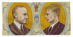 Calvin Coolidge And Charles Lindbergh Beach Towel