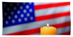 Candle And American Flag Beach Towel