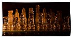 Candle Lit Chess Men Beach Towel