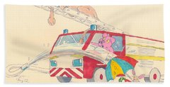 Cartoon Fire Engine And Animals Beach Towel