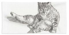 Cat Sitting Beach Towel
