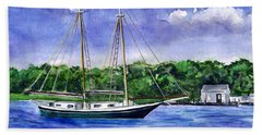 Beach Sheet featuring the painting Cedar Beach Schooner by Clara Sue Beym