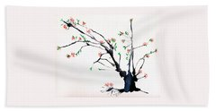 Cherry Tree By Straw Beach Towel