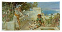 Children By The Mediterranean  Beach Towel