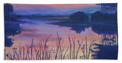 Beach Towel featuring the painting Chincoteaque Island Sunset by Julie Brugh Riffey