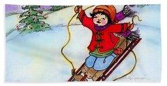 Christmas Joy Child On Sled Beach Sheet by Glenna McRae