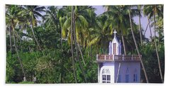 Church Located On A Coastal Lagoon In Kerala In India Beach Towel