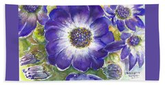 Beach Sheet featuring the painting Cineraria Of South Africa  by Bernadette Krupa