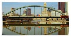 City Reflections Through A Bridge Beach Towel