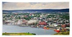 Cityscape Of Saint John's From Signal Hill Beach Towel