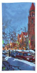 Cold Morning In Elmwood Ave  Beach Towel