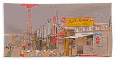 Coney Island Boardwalk Beach Towel by Mark Gilman