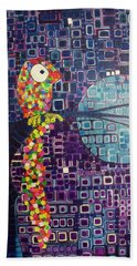 Beach Towel featuring the painting Confetti Bird by Donna Howard