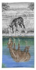 Contemplating Reality - Mare And Foal Horse Print Beach Towel