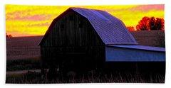 Beach Towel featuring the photograph Cornfield Barn Sky by Randall Branham