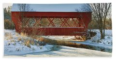 Covered Bridge Beach Towel by Eunice Gibb