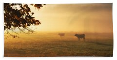 Cows In A Foggy Field Beach Sheet