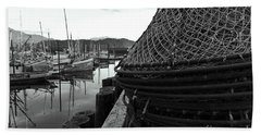 Crab Traps Beach Towel by Darcy Michaelchuk