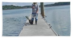 Crabber Man Beach Towel by Patricia Greer