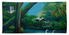 Cranes On The Swamp Beach Sheet