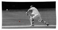 Cricketer In Black And White With Red Ball Beach Towel