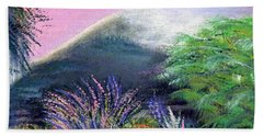 Beach Towel featuring the painting Croagh Patrick by Alys Caviness-Gober