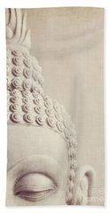 Cropped Stone Buddha Head Statue Beach Towel by Lyn Randle