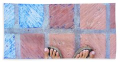Cross-legged On A Colorful Sidewalk Beach Sheet by Anne Mott