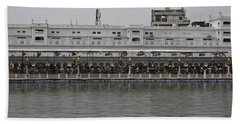 Crowd Of Devotees Inside The Golden Temple Beach Towel by Ashish Agarwal