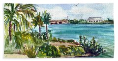 Beach Sheet featuring the painting Cudjoe Key Bridge by Clara Sue Beym