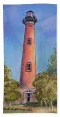 Beach Sheet featuring the pastel Currituck Lighthouse Nc by Julie Brugh Riffey
