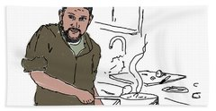 Beach Towel featuring the drawing Dad Cooking by Daniel Reed