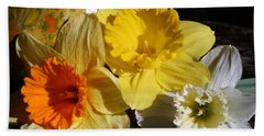 Beach Towel featuring the photograph Daffodil Threesome by Kay Novy