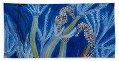 Beach Towel featuring the painting Date Night On The Reef by Julie Brugh Riffey