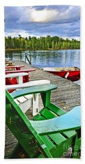 Deck Chairs On Dock At Lake Beach Towel
