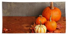 Decorative Fall Pumpkins Beach Towel