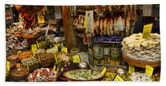 Deli In The Olivar Market In Palma Mallorca Spain Beach Towel