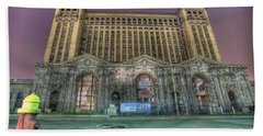 Detroit's Michigan Central Station - Michigan Central Depot Beach Towel by Nicholas  Grunas
