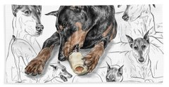 Dober-thoughts - Doberman Pinscher Montage Print Color Tinted Beach Towel