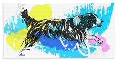 Dog Running In Water Beach Towel