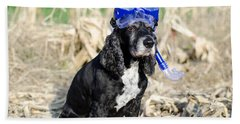 Dog With Diving Mask Beach Towel