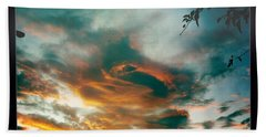 Beach Towel featuring the photograph Drama In The Sky by Nina Prommer