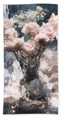 Dreamy Impressionistic Cottage Pink Roses - French Impressionitic Pink Roses - Paris Floral Prints Beach Towel