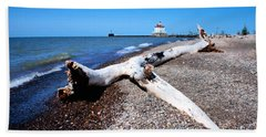 Beach Towel featuring the photograph Driftwood At Erie by Michelle Joseph-Long