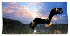 Beach Towel featuring the photograph Eagle At Paint Creek Dam by Randall Branham
