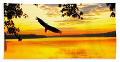 Beach Sheet featuring the photograph Eagle At Sunset by Randall Branham